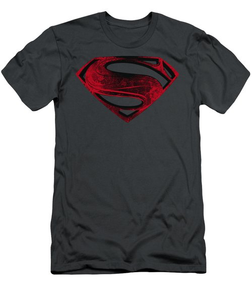 Man Of Steel - Red And Black Glyph Men's T-Shirt (Athletic Fit)