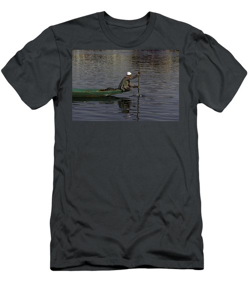 Man Plying A Wooden Boat On The Dal Lake Men's T-Shirt (Athletic Fit)