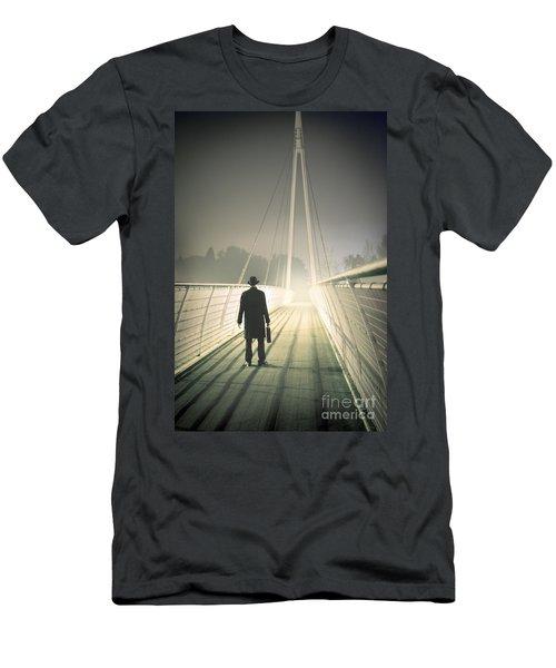 Men's T-Shirt (Slim Fit) featuring the photograph Man With Case On Bridge by Lee Avison