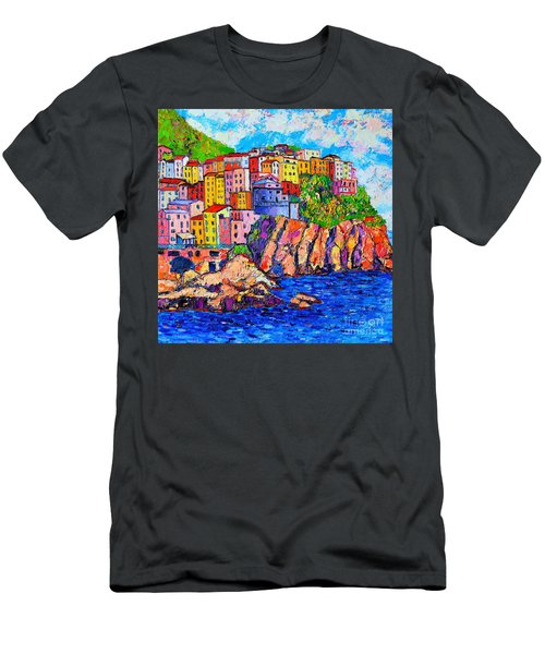 Manarola Cinque Terre Italy Detail Men's T-Shirt (Slim Fit) by Ana Maria Edulescu