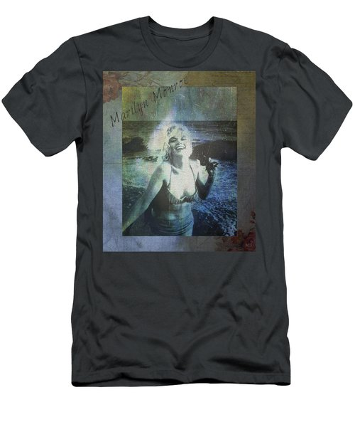 Marilyn Monroe At The Beach Men's T-Shirt (Slim Fit) by Absinthe Art By Michelle LeAnn Scott