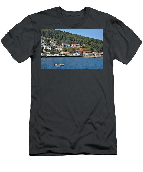 Men's T-Shirt (Slim Fit) featuring the photograph Marina Bay Scene With Boat And Houses On Hills by Imran Ahmed