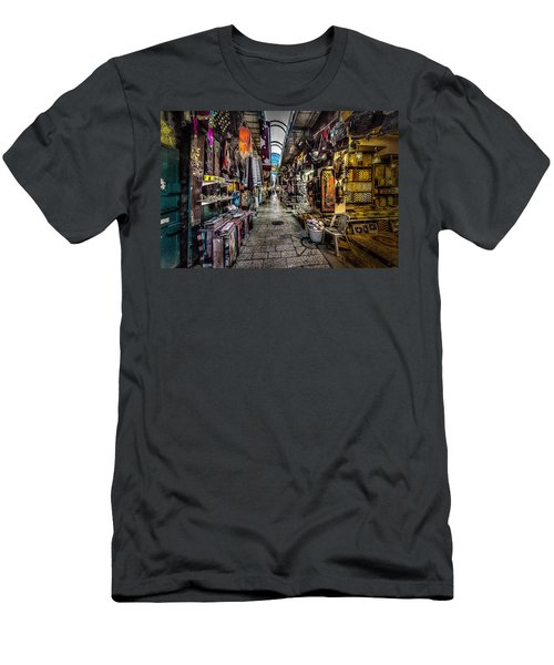 Market In The Old City Of Jerusalem Men's T-Shirt (Slim Fit) by David Morefield