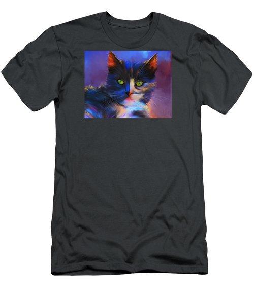 Meesha Colorful Cat Portrait Men's T-Shirt (Athletic Fit)