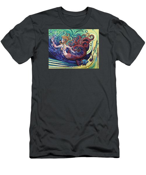 Mermaid Gargoyle Men's T-Shirt (Slim Fit) by Genevieve Esson