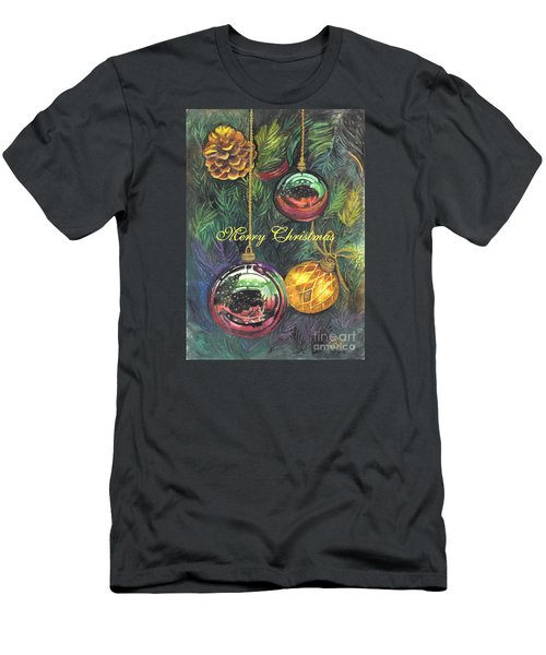 Merry Christmas Wishes Men's T-Shirt (Slim Fit) by Carol Wisniewski