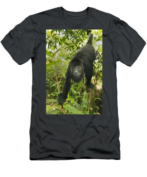 Men's T-Shirt (Athletic Fit) featuring the photograph Mexican Black Howler Monkey Belize by Kevin Schafer