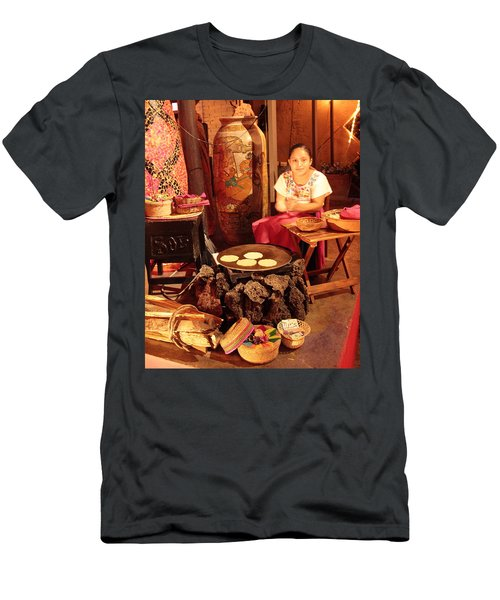 Mexican Girl Making Tortillas Men's T-Shirt (Athletic Fit)