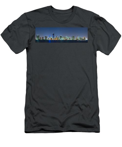 Men's T-Shirt (Slim Fit) featuring the photograph Miami Skyline At Night by Carsten Reisinger