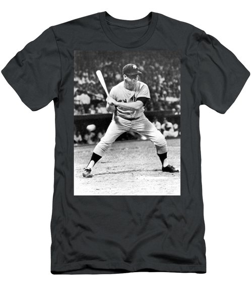 Mickey Mantle At Bat Men's T-Shirt (Slim Fit) by Underwood Archives