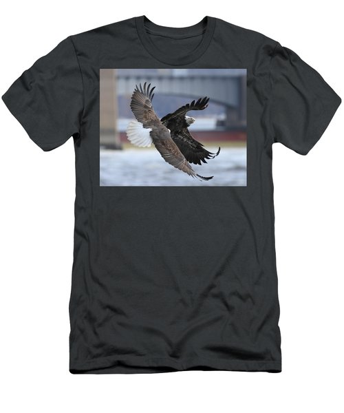 Men's T-Shirt (Slim Fit) featuring the photograph Mid Air Fight by Coby Cooper