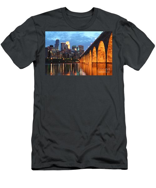 Minneapolis Skyline Photography Stone Arch Bridge Men's T-Shirt (Athletic Fit)