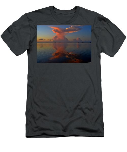Mirrored Thunderstorm Over Navarre Beach At Sunrise On Sound Men's T-Shirt (Slim Fit) by Jeff at JSJ Photography