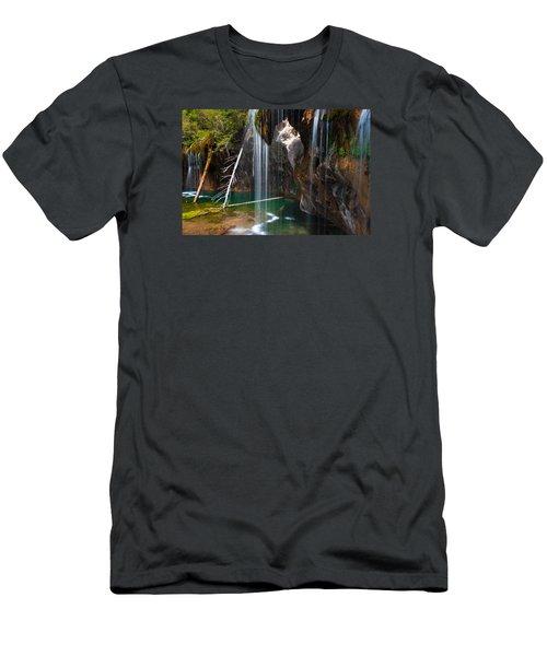 Misty Falls At Hanging Lake Men's T-Shirt (Slim Fit) by John Hoffman