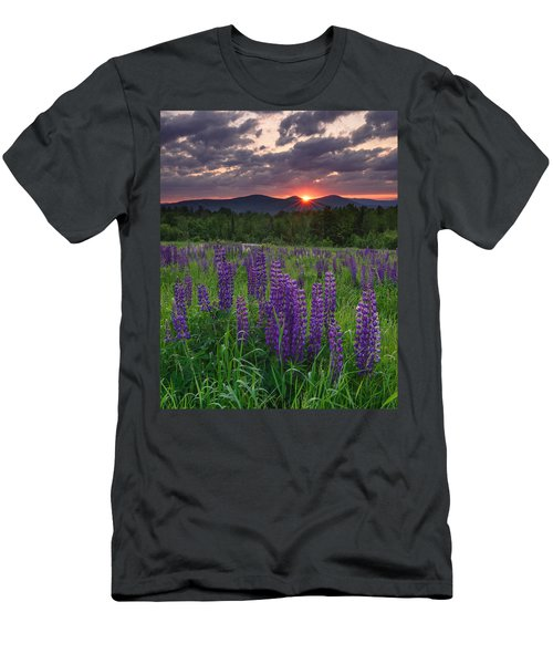 Moody Sunrise Over Lupine Field Men's T-Shirt (Athletic Fit)