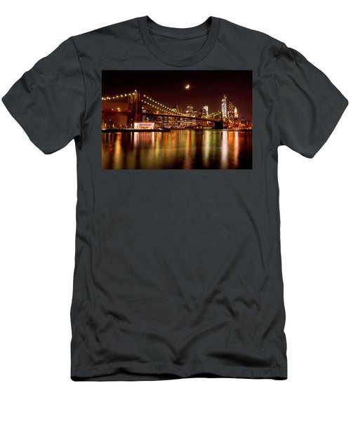Moon Over The Brooklyn Bridge Men's T-Shirt (Athletic Fit)