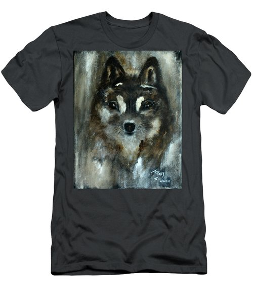 Men's T-Shirt (Slim Fit) featuring the painting Moon Shadow The Baby Fox by Barbie Batson