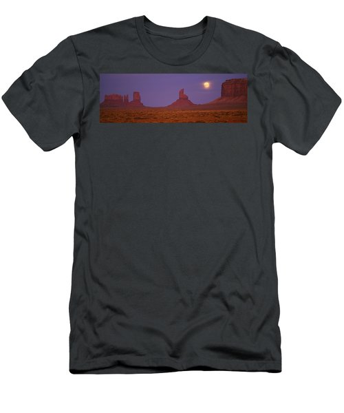 Moon Shining Over Rock Formations Men's T-Shirt (Athletic Fit)