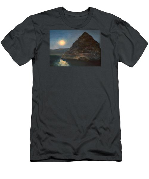 Men's T-Shirt (Slim Fit) featuring the painting Moonlight On Pyramid Lake by Donna Tucker