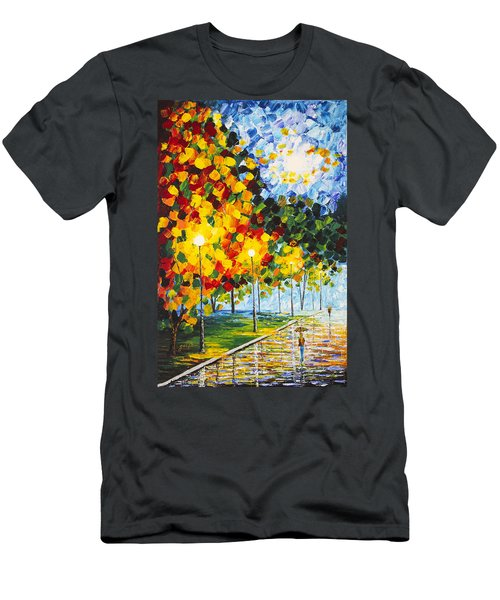 Men's T-Shirt (Athletic Fit) featuring the painting Moonlight Raindrops Original Acrylic Palette Knife Painting by Georgeta Blanaru