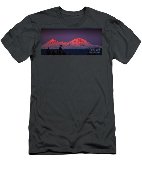 Morning Dawn On Two Of Three Sisters Mountain Tops In Oregon Men's T-Shirt (Athletic Fit)