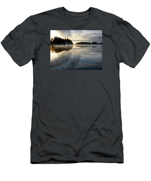 Morning Lake Reflection Men's T-Shirt (Slim Fit) by Peter Mooyman