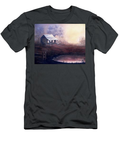 Men's T-Shirt (Slim Fit) featuring the painting Morning Reflections by Hazel Holland