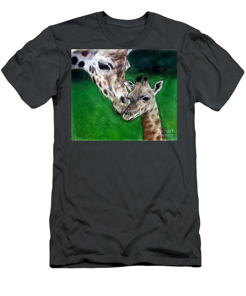 Mother And Baby Giraffe Men's T-Shirt (Athletic Fit)