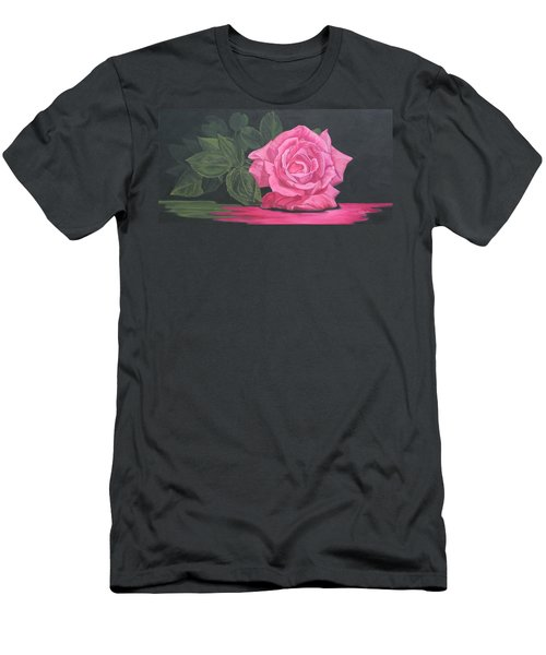 Men's T-Shirt (Slim Fit) featuring the painting Mothers Day Rose by Wendy Shoults