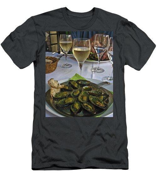 Men's T-Shirt (Slim Fit) featuring the photograph Moules And Chardonnay by Allen Sheffield