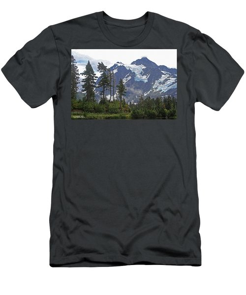 Men's T-Shirt (Slim Fit) featuring the photograph Mount Baker And Fir Trees And Glaciers And Fog by Tom Janca