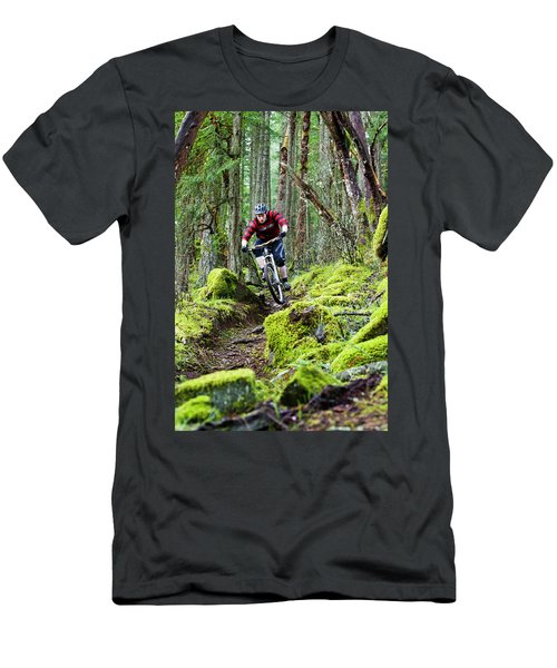 Mountain Biker Rides Moss-covered Men's T-Shirt (Athletic Fit)