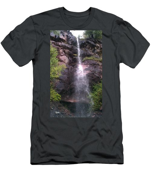 Men's T-Shirt (Slim Fit) featuring the photograph Mountain Waterfall by Fortunate Findings Shirley Dickerson