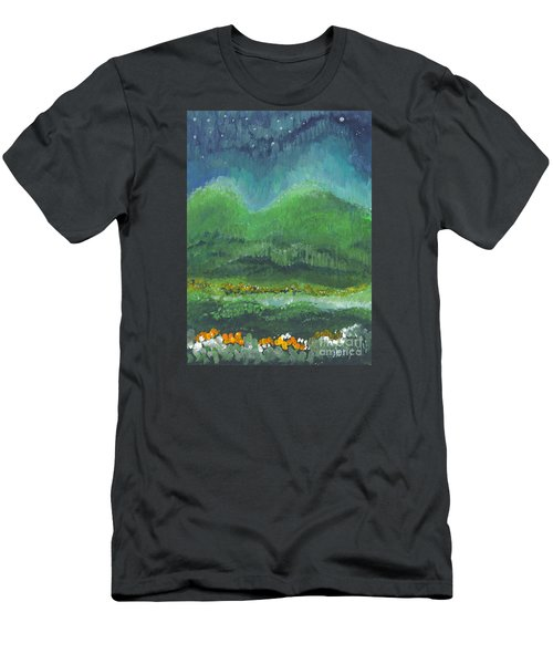 Men's T-Shirt (Slim Fit) featuring the painting Mountains At Night by Holly Carmichael