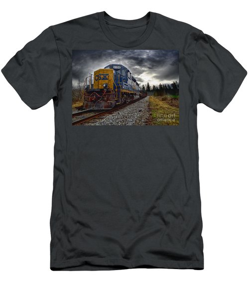 Men's T-Shirt (Slim Fit) featuring the photograph Moving Along In A Train Engine by Melissa Messick