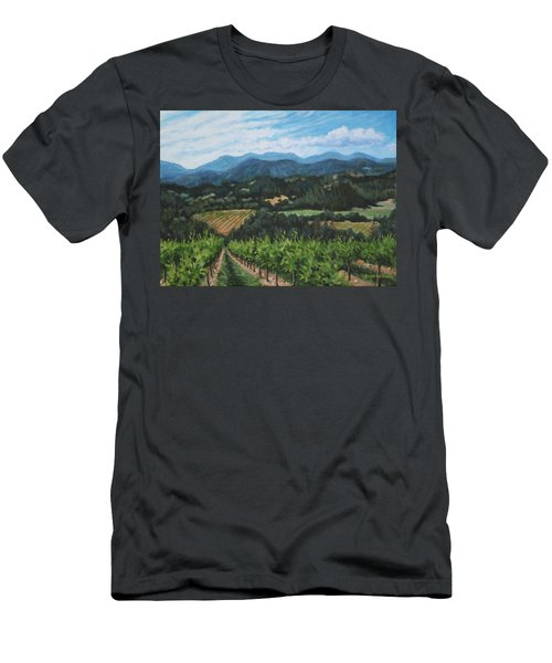 Men's T-Shirt (Slim Fit) featuring the painting Napa Valley Vineyard by Penny Birch-Williams