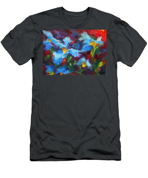 Men's T-Shirt (Athletic Fit) featuring the painting Nature's Palette - Himalayan Blue Poppy Oil Painting Meconopsis Betonicifoliae by Talya Johnson