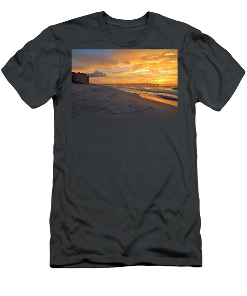 Navarre Pier And Navarre Beach Skyline At Sunrise With Gulls Men's T-Shirt (Slim Fit) by Jeff at JSJ Photography