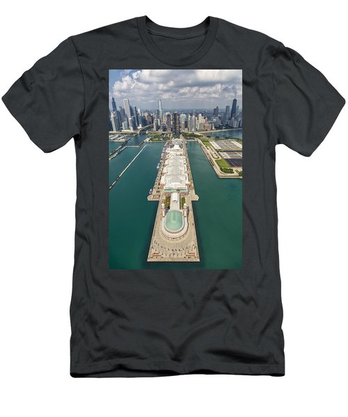 Navy Pier Chicago Aerial Men's T-Shirt (Slim Fit) by Adam Romanowicz