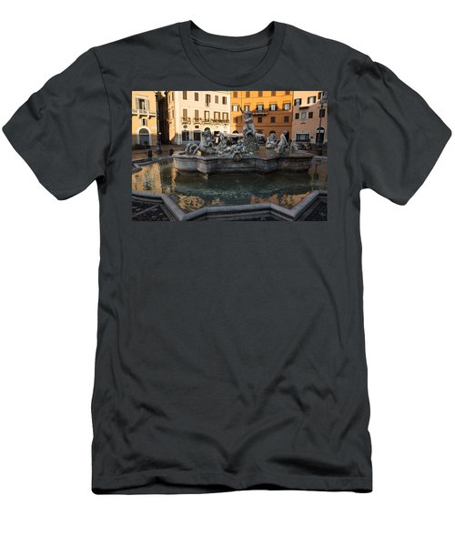 Men's T-Shirt (Slim Fit) featuring the photograph Neptune Fountain Rome Italy by Georgia Mizuleva