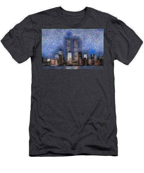 New York City Blue And White Skyline Men's T-Shirt (Slim Fit) by Georgi Dimitrov