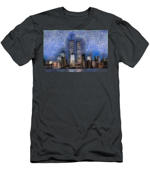 New York City Blue And White Skyline Men's T-Shirt (Athletic Fit)