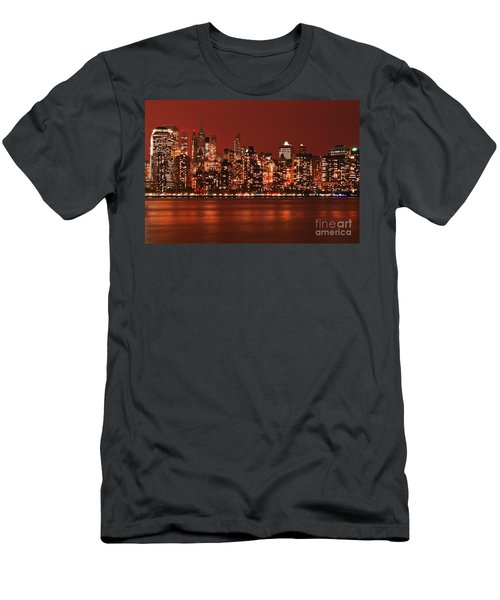 New York City Skyline In Red Men's T-Shirt (Athletic Fit)