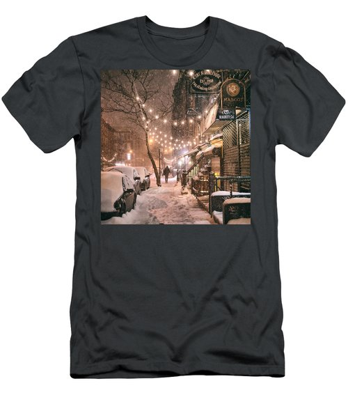 New York City - Winter Snow Scene - East Village Men's T-Shirt (Athletic Fit)