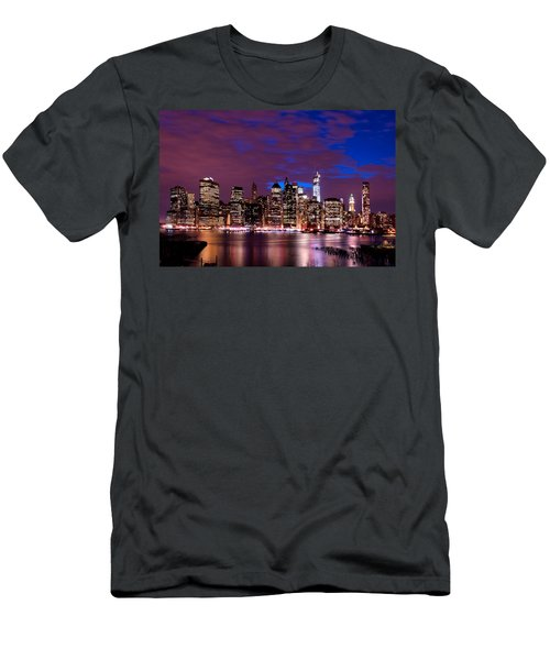 New York Skyline Magic Hour-- From Brooklyn Heights Promenade Men's T-Shirt (Athletic Fit)