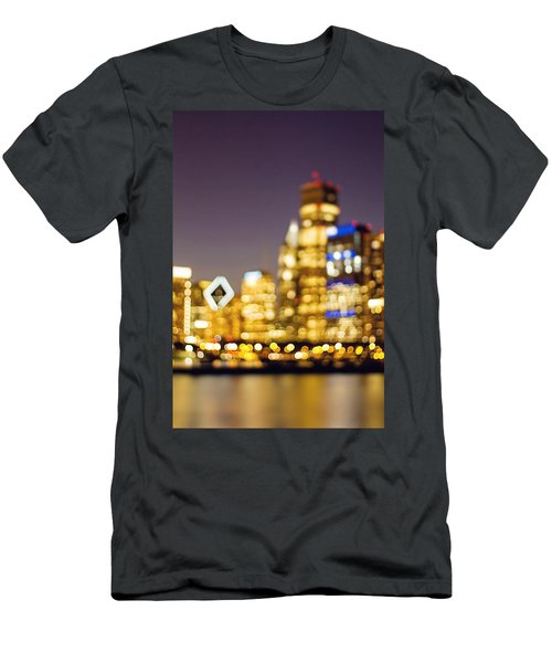 Night Lights - Abstract Chicago Skyline Men's T-Shirt (Athletic Fit)