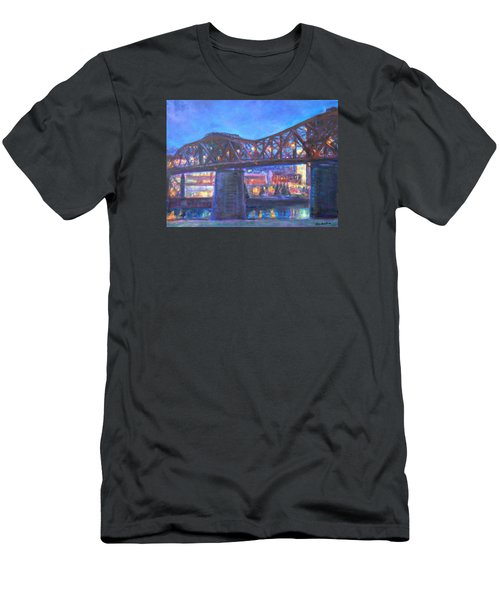 City At Night Downtown Evening Scene Original Contemporary Painting For Sale Men's T-Shirt (Slim Fit) by Quin Sweetman