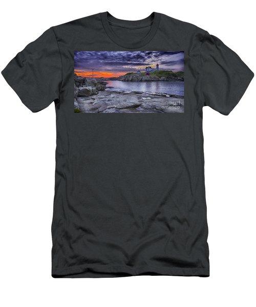 Nubble Lighthouse Maine Men's T-Shirt (Athletic Fit)