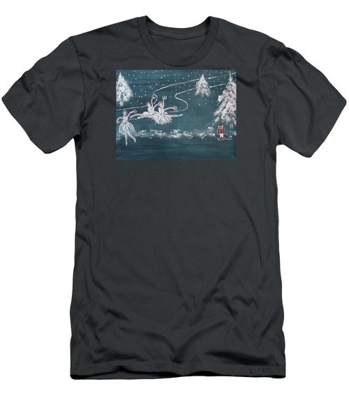 Men's T-Shirt (Slim Fit) featuring the painting Nutcrackers Dance Of The Snowflakes by Sharyn Winters
