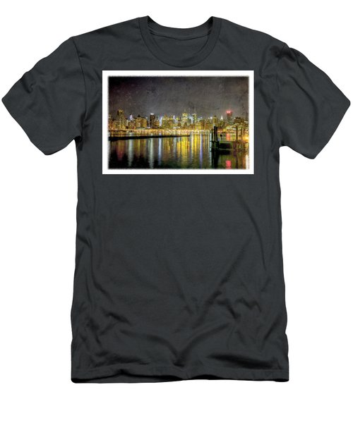 Nyc At Night Men's T-Shirt (Athletic Fit)